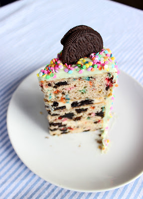 oreo funfetti cake with cheesecake filling… I wonder if my niece would like th