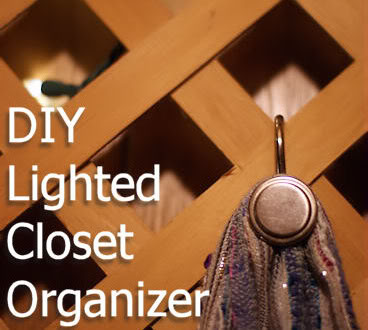 organize handbags and scarves on the wall of a closet with a #diy lighted wall c