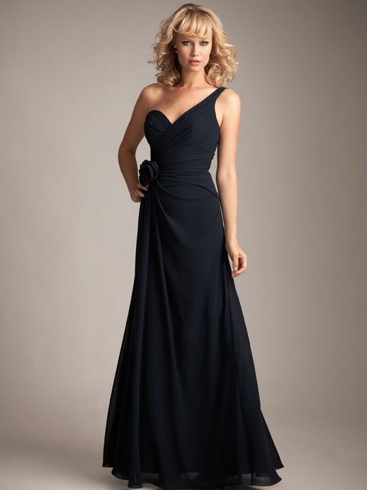 One shoulder A-line with ruffle embellishment chiffon bridesmaid dress