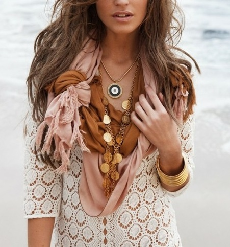 I love this scarf idea! tie 2 scarfs together.