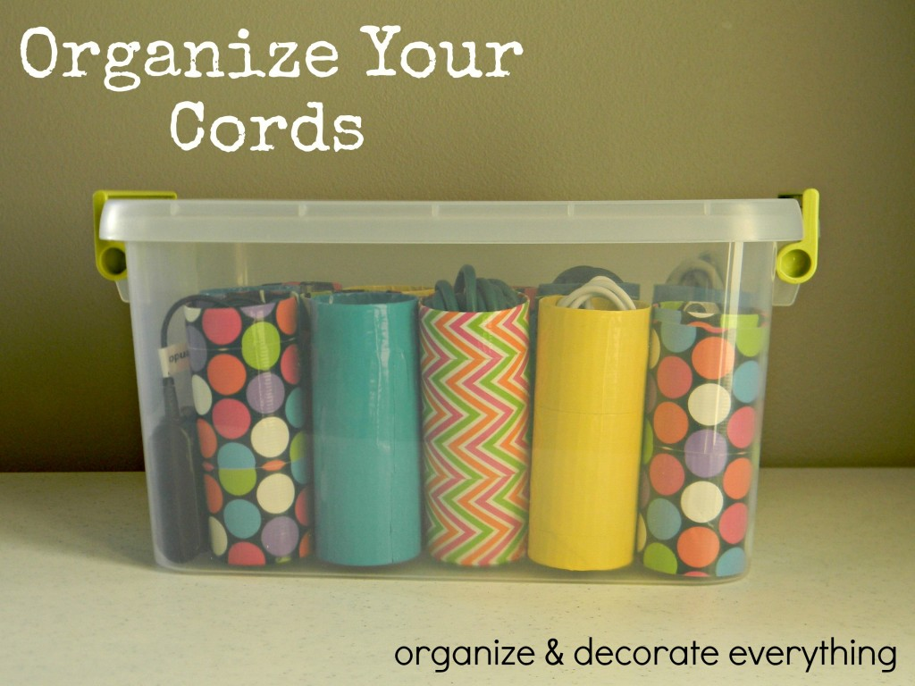 cord control – toilet paper rolls and decorative duct tape … Brilliant as well