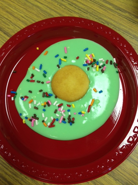 green eggs for Seuss day–vanilla pudding with green food color, Nilla wafer as