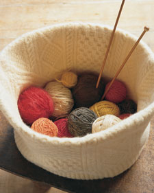 Turn an old sweater into a stylish Felted Knitting Basket