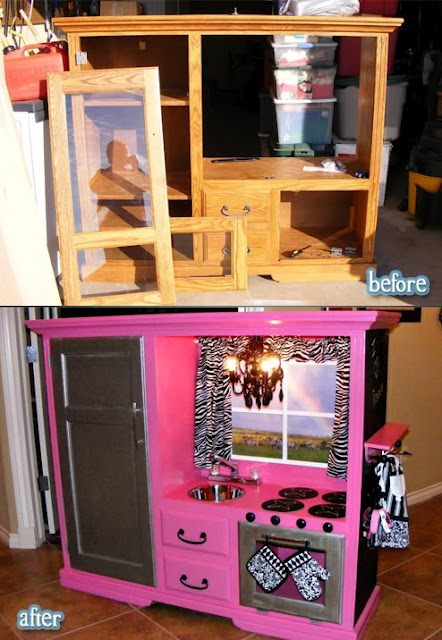 Turn an old entertainment center into a play kitchen