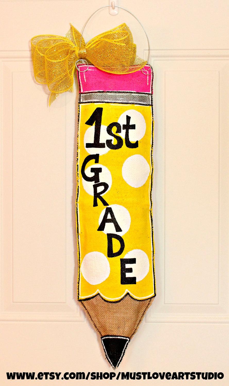 Teacher Appreciation Pencil Burlap Door Hanger Decoration HUGE – Polka Dots Back