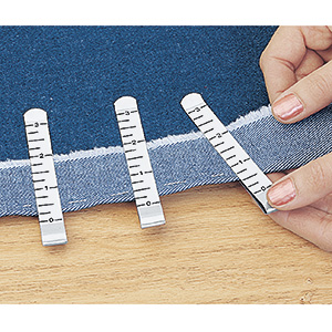 HEM CLIPS.  Measure and hold hemming projects without pins!