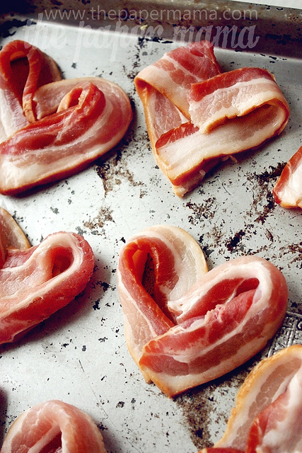 Bacon Hearts – valentine breakfast in bed :). 400F – 18 min or so.