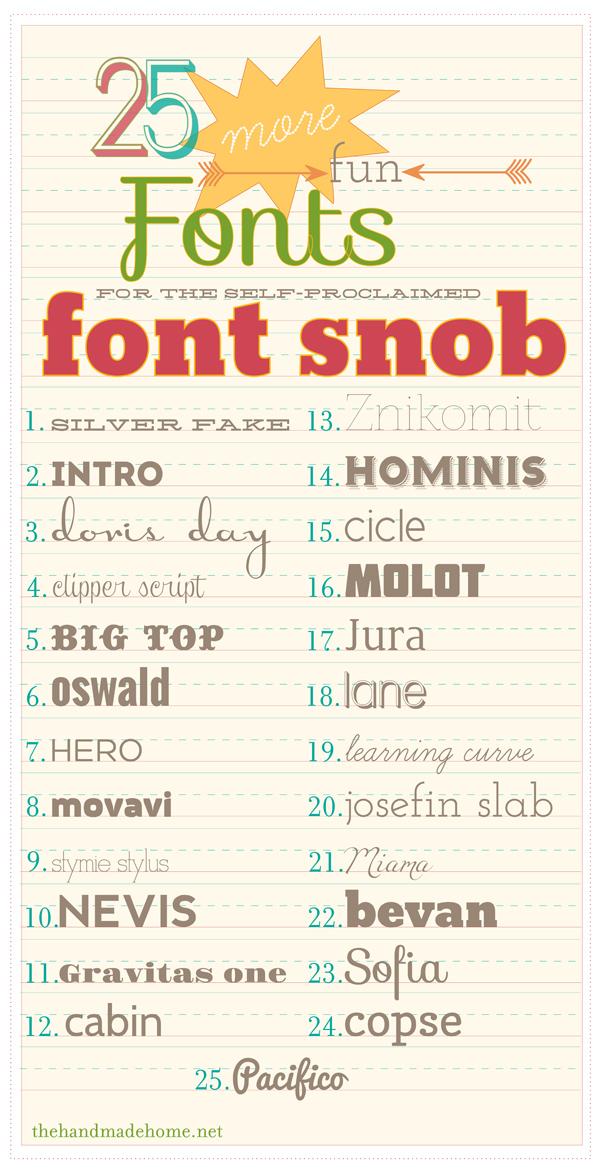 the font snob club : 25 more fun fonts {july 2012}