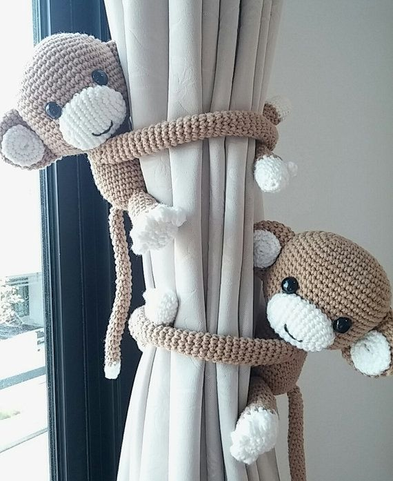 3 different color monkey curtain tie