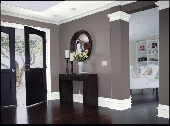 Dark wood Gray walls White trim
