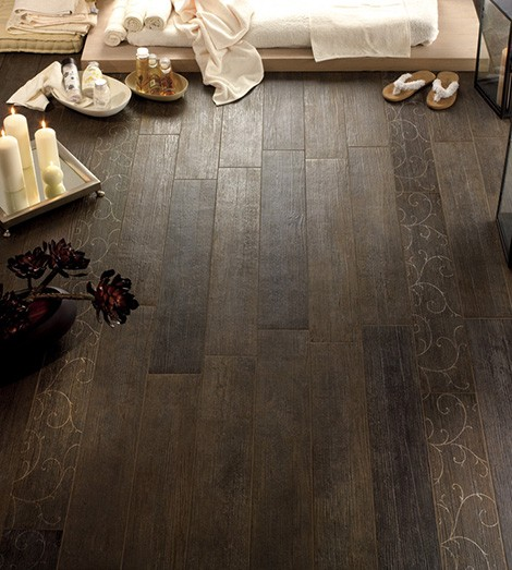 Ceramic tile that looks like wood…..perfect for a bath.