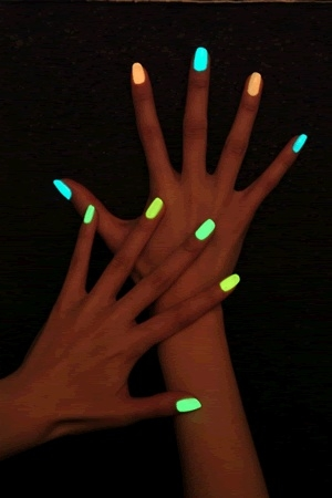 break a glow stick & put in clear polish, great for halloween!