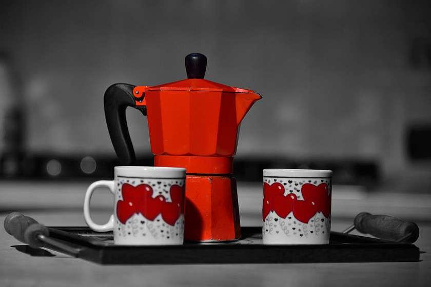 Moka Pot And Coffee Cups