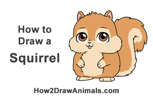 Image of: Fox How To Draw Cute Cartoon Squirrel Chibi How2drawanimals How To Draw Squirrel cartoon