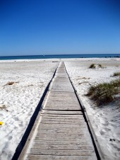 The white sand beach of Dueodde draws crowds in the summer months.