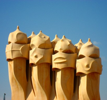 The chimneys on the roof terrace of Casa Mila are nicknamed espanta bruxes, or witch scarers.