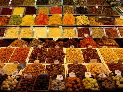 Dried fruit, truffles and nuts are in good company at La Boqueria, one of the most famous markets in the world.