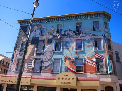Painted facades like this one in Chinatown are not uncommon in San Francisco.