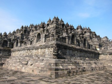 Borobudur has hidden panels under its base, which illustrate the law of karma.