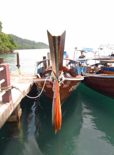 Longtail boat parked at Koh Ngai Resort