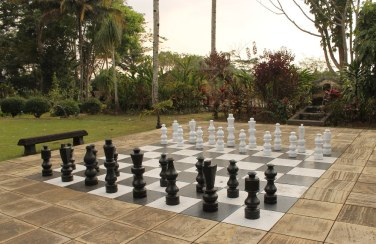 Play with the giant chess pieces behind the Clubhouse