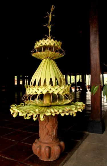 Janur is the art of weaving young coconut leaves into decorative and useful items