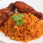plate of jollof rice with chicken
