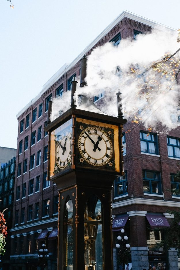 Clock in Gas Town, Vancouver, BC
