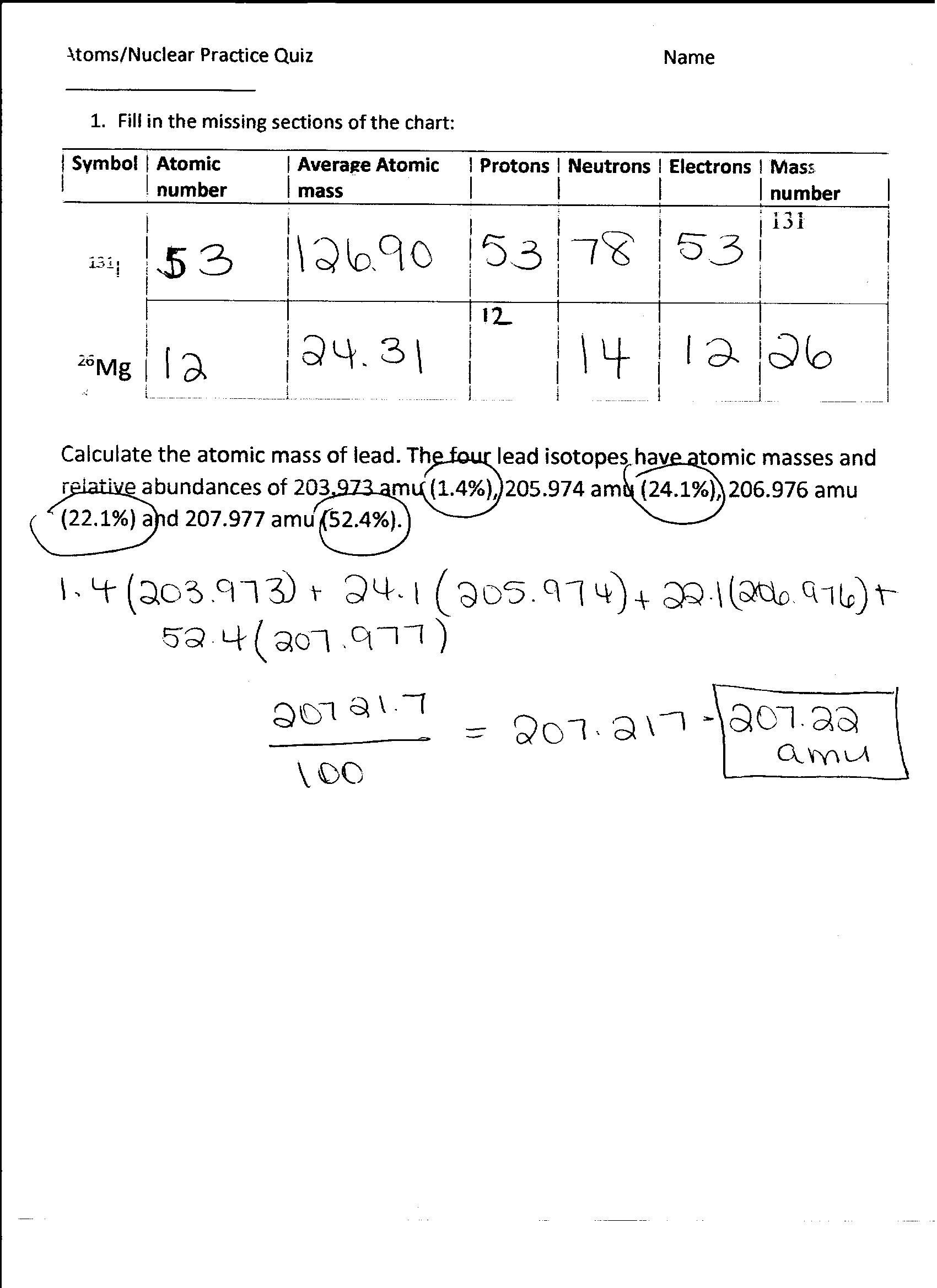 Scojo262 Chemistry Bohr Model Practice Worksheet Answers