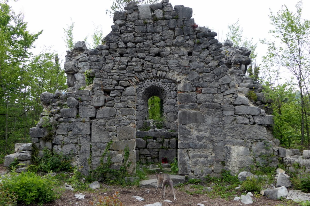 Boo explores the ruins of the church
