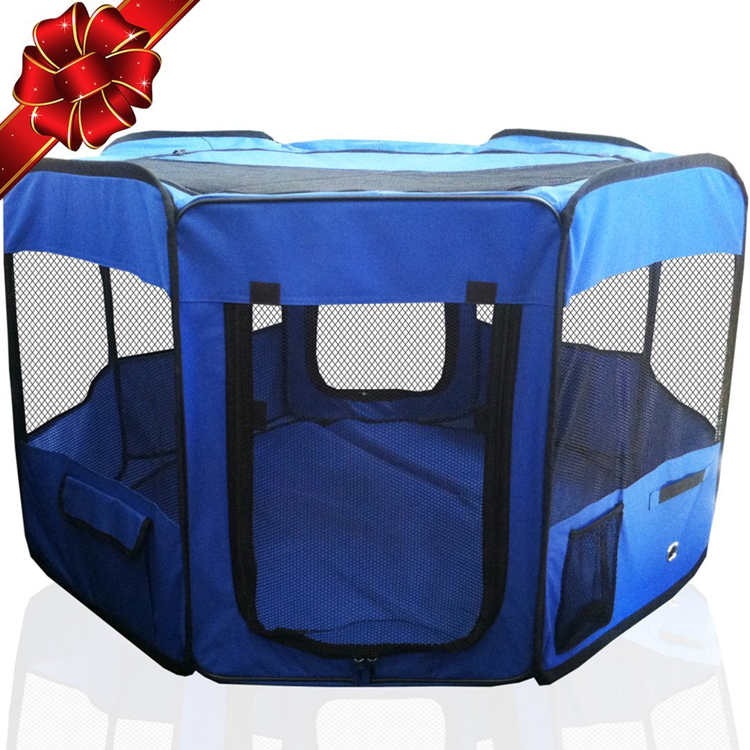 The Best Indoor and Outdoor Pen Blue with Cary Bag Easily Sets Up /& Folds Down /& Space Free Pet 45 Playpen Foldable Portable Dog//Cat//Puppy Exercise Kennel for Small Medium Large