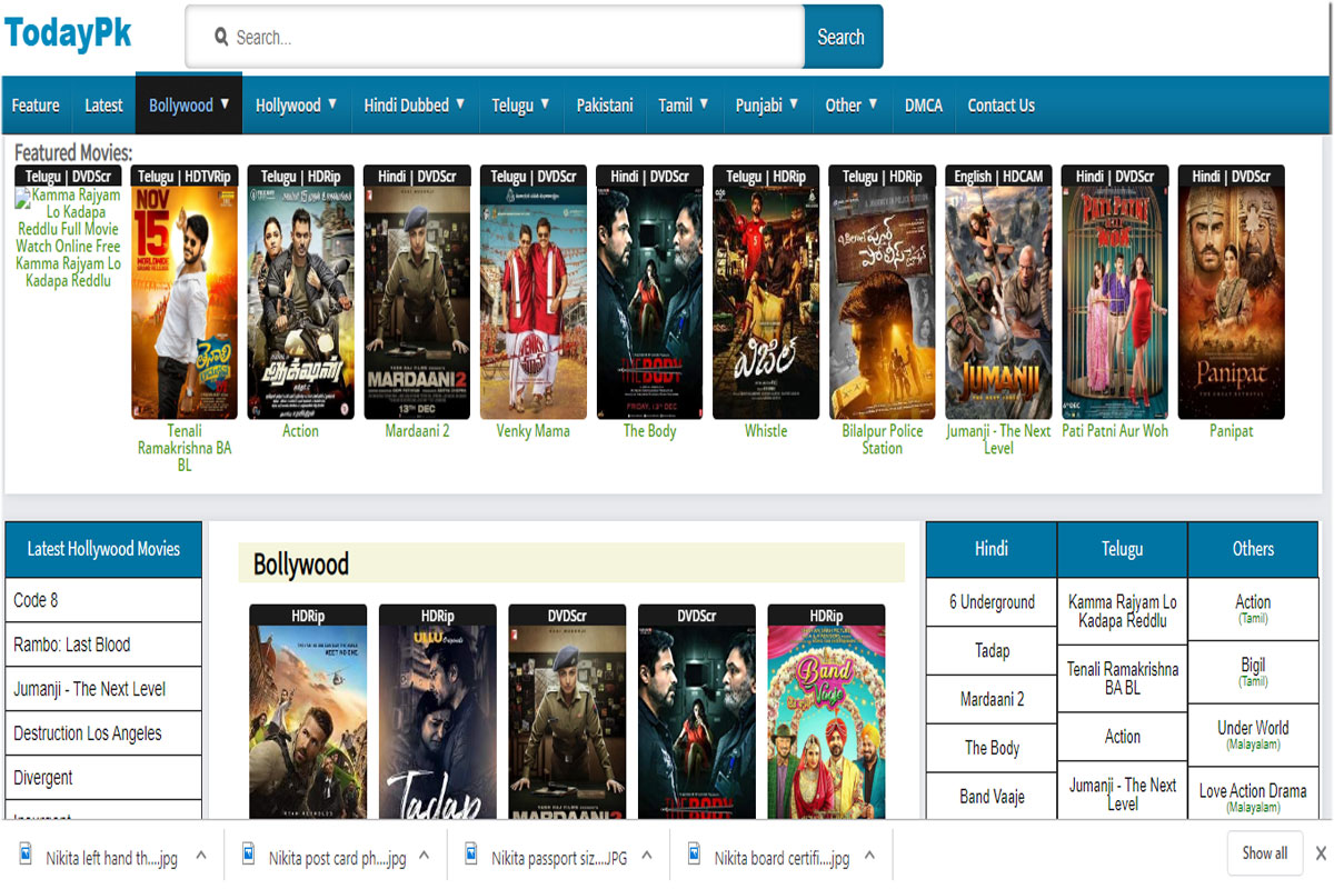 Todaypk Download Bollywood, Telugu new movies