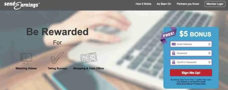 SendEarnings I migliori siti di sondaggi per guadagnare denaro da casa