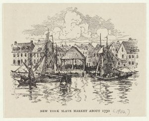 """Illustration by Harry Fenn called """"New York Slave Market about 1730, 1902"""""""