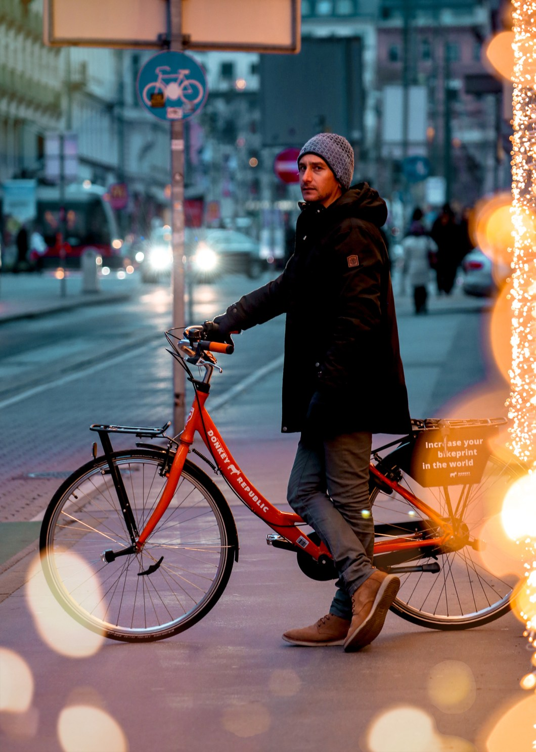 Christmas lights and bicycle in Vienna