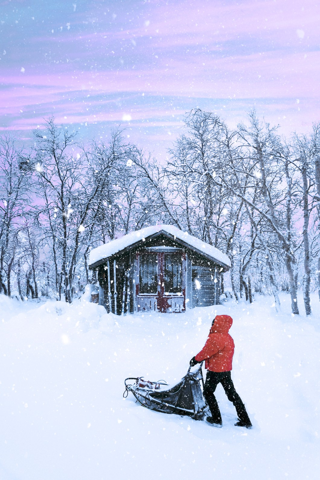 Snowy cabin in the Arctic Circle Norway
