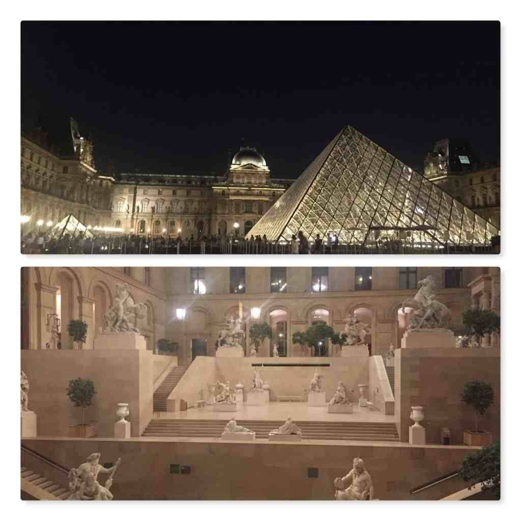 Paris Louvre pyramid at night with lights