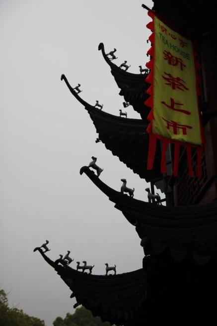Misterne wykończenie dachu herbaciarni Yuyuan