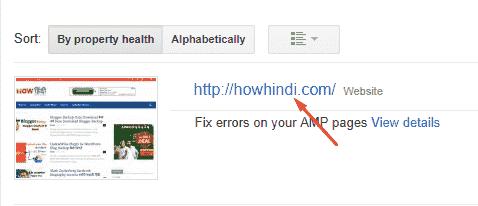 Google search console url list