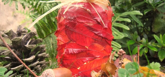 Avec des feuilles d'automne … on a fait un photophore