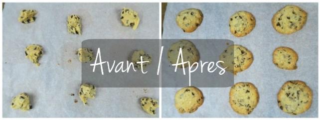 Cookies avant après cuisson