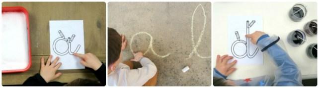 phase sensorielle graphisme écriture lettre avec le doigt