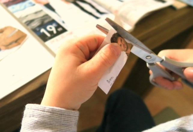 Découpage partie du corps catalogue atelier stylisme avec des ciseaux