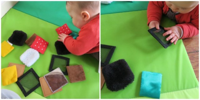 jeu de bébé sac à toucher carré sensoriel hop toys