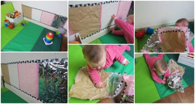 mur sensoriel de papier à toucher pour bébé
