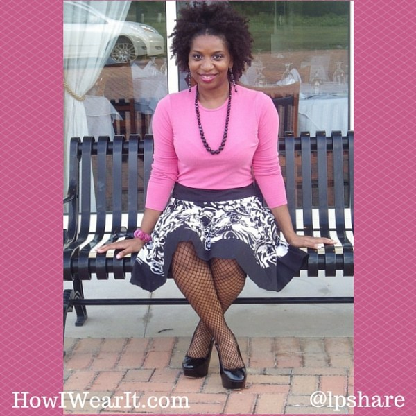 Pink Ann Taylor Top Cache Skirt Fishnets Platforms How I Wear It Tops