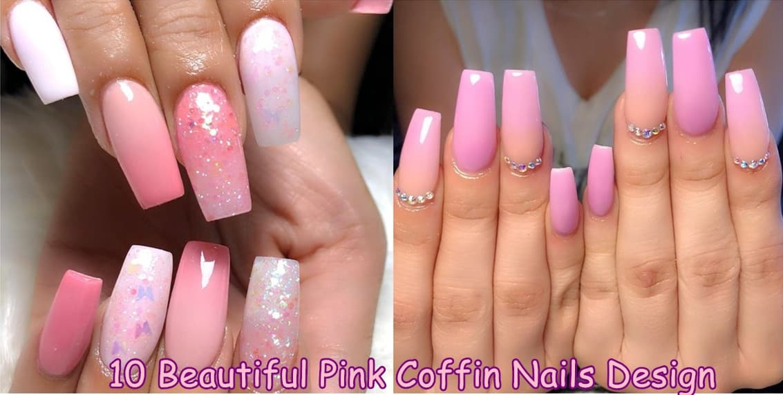 coffin nails - 10 Beautiful Pink Coffin Nails Design