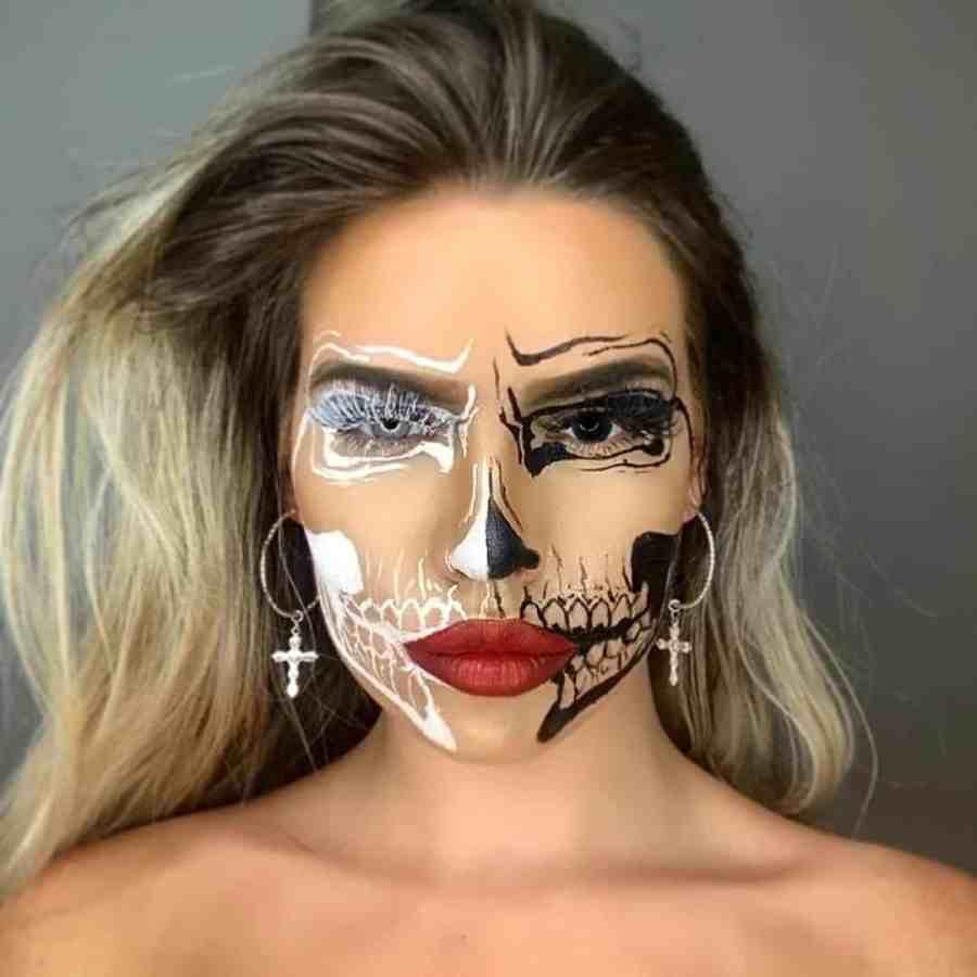 Halloween Skull Makeup 2020083008 - 10+ Scary Halloween Skull Makeup Ideas