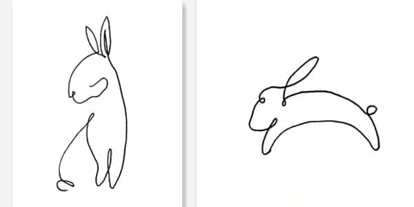 One line drawing Rabbit-20210313