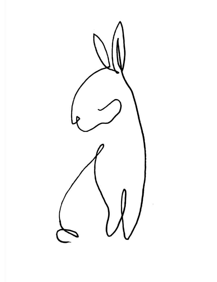 One line drawing Rabbit 2021031302 scaled - Learn How to One Line Drawing Rabbit